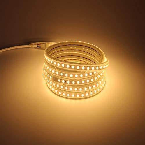 SUNXK Strip de luz LED Impermeable IP67 AC 220 V 5730 120 LED/M, con Paquete de Fuente de alimentación 4000K 6000K 3000K Cálido/Frío Blanco (Color : Warm White, Size : 5m)