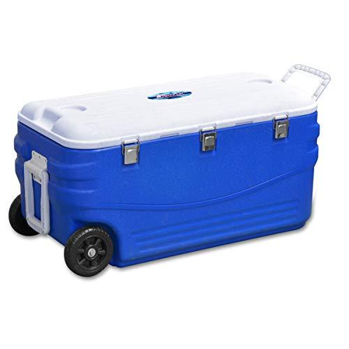 FIELDOOR クーラーボックス46L キャスター付き ブルー (約)59cm×35cm×42cm (3層構造保冷 / 2WAYハンドル)