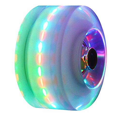 Rollerskate Wheels Light up Wheels with ABEC-9 Bearings Luminous Skateboard Wheels 4 Pcs 32mm x 58mm for Quad Skating and Skateboarding (Colorful-4pcs)