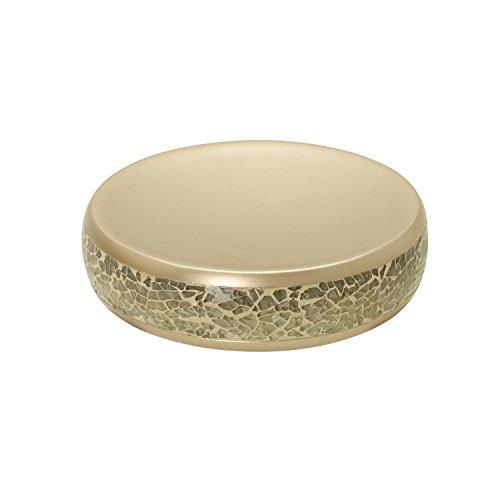 Zenna Home, India Ink Huntington Soap Dish, Gold Cracked Glass