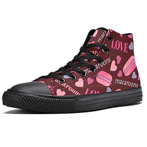 TIZORAX Pink Macarons mit Herzen High Top Sneakers Fashion Schnürschuhe Canvas Schuhe Casual Schule Walking Schuh für Herren Teenager Jungen, Mehrfarbig - mehrfarbig - Größe: 39 1/3 EU