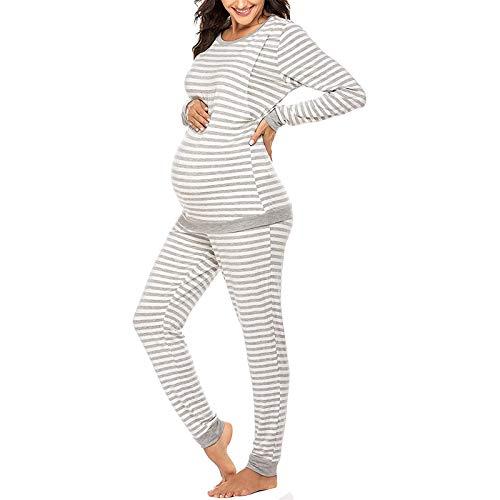 Pijama Premama Ropa de Dormir Embarazadas Camiseta y Pantalones a Rayas Conjunto para Lactancia Parto Hospital/2XL Blanco