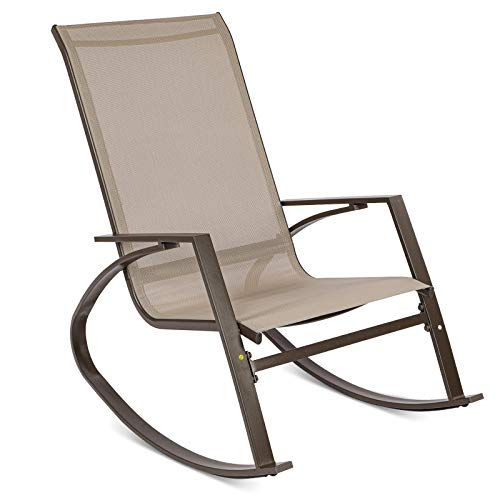 Joolihome Rocking Chair, Brown Textoline Leisure Rocker Armchair with Metal Frame, Indoor Outdoor Swing Chair for Home Balcony Porch Garden Poolside Patio Yard Deck Backyard