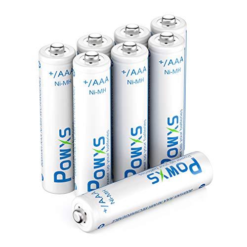 POWXS Telefon Akku AAA 800 mAh NiMH 1,2 V DECT Phone Micro AAA Batterien wiederaufladbar,akkus geringe Selbstentladung mit Aufbewahrungskiste(8 Stück)