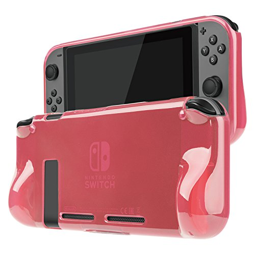 TNP Nintendo Switch Case Cover for Console & Joy-Con Controller - Travel Friendly TPU Plastic Shell Protector, Anti-Scratch Shockproof Protective Nintendo Switch Accessories (Red)
