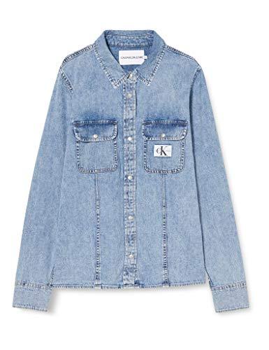 Calvin Klein Archive Lean Shirt Camisa, Denim, L para Mujer