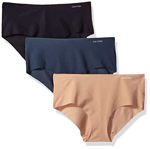 Calvin Klein Underwear Women's Invisibles Hipster 3 Pack, Multi, Small