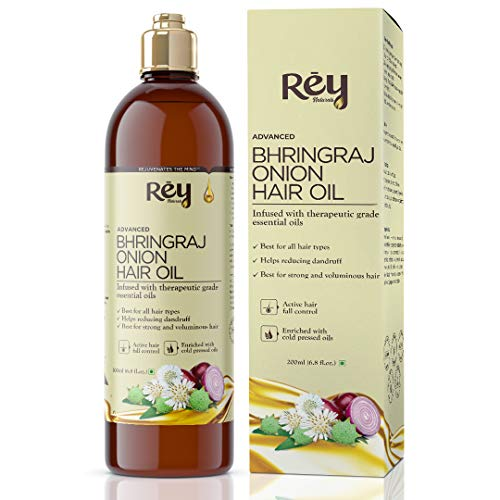 Rey Naturals® Bhringraj oil with Onion extract For Hair Strengthening, Anti-hair Fall, Split-ends – 200 ml