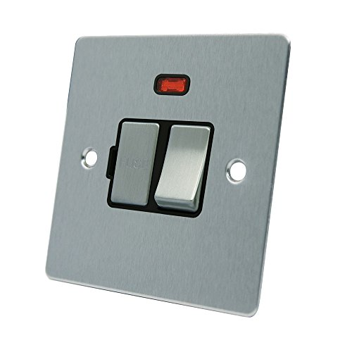AET FSCSFNBS Satin Chrome Flat Spur w Black Insert Metal Rocker Switch-13 Amp Switched Fused Connection Unit with Neon Indicator