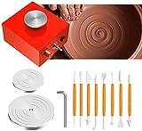 S SMAUTOP Mini Ruota in Ceramica, Mini Macchina per ceramiche Elettrico 6,5 cm 10 cm Giradischi per lavori in Ceramica Arte Ceramica Argilla Artigianato (Rosso)