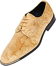 Amali Chadwick, Mens Dress Shoes - Lace Up Oxford Shoes for Men - Tuxedo Shoes, Paisley Pattern, Metal Tip, Mens Designer Shoes Color Gold Size 11 !!! Runs Small GO 1/2 Size UP !!!