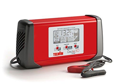Telwin 807586 Doctor Charge 50 Pulsetronic Batterieladegerät Erhaltungsladegerät Starthilfegerät Batterie Manager 6 V/ 12 V/ 24 V, Rot/Schwarz