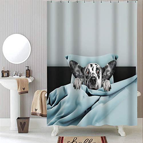 XCBN Lindos Perros y Gatos Cortinas de Ducha de Tela Impermeable Juego de Cortinas de baño decoración de baño Cortina de Ducha A18 90x180cm