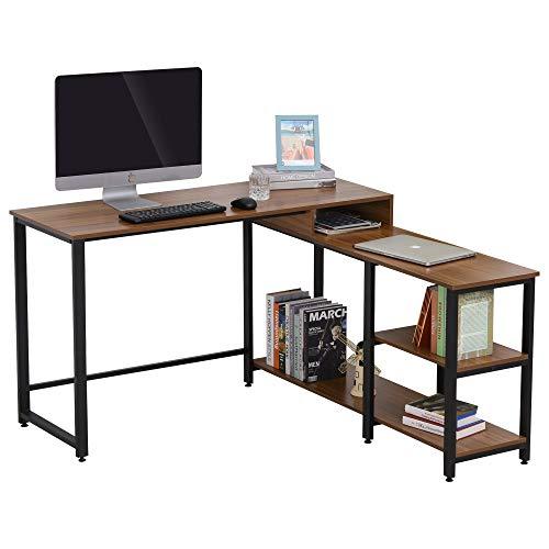 HOMCOM Mesa de Ordenador en Forma de L Escritorio de Oficina Diseño de Esquina con Múltiples Estantes Gran Superficie de Melamina Marco Metálico 130x130x78 cm Nogal