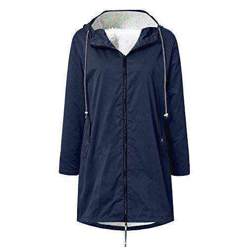 Aniywn Women's Waterproof Windproof Rain Jacket with Lined Raincoat Solid Outdoor Active Travel Hiking Hooded Raincoat Navy