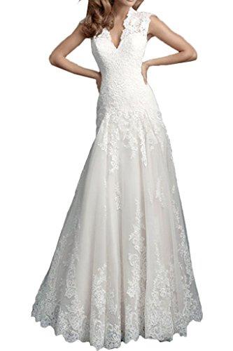 Milano Bride Anmutig Mermaid Brautkleider Hochzeitskleider Rundkragen Spitze Lang-36-Weiss