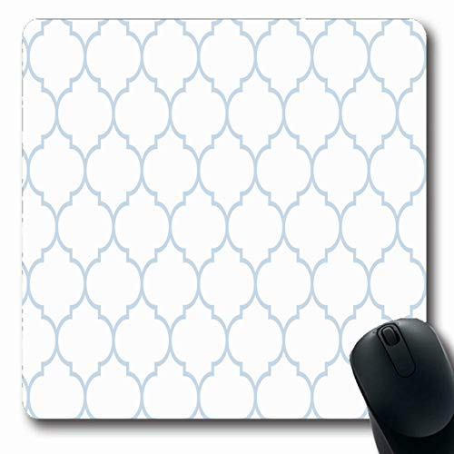 Jamron Mousepad Oblong 7.9x9.8 Inches Swirl Subtle Revival Curve Blue Retro Shape White Ornate Wide Moroccan Vintage Textures Ligature Non-Slip Rubber Mouse Pad Office Computer Laptop Games Mat