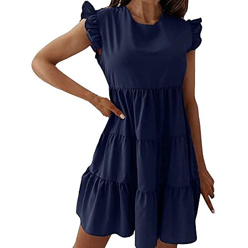 N\P Vestido suelto de manga corta de color sólido para mujer
