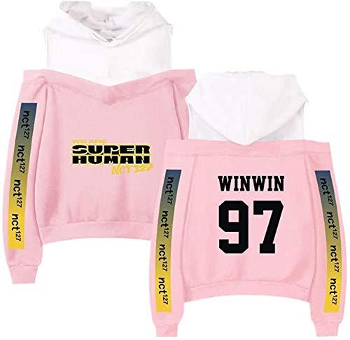 NCT 127 Mercancía Off Sudadera con Capucha KPOPNEW Ropa Pullover Sudadera, el Mejor Recuerdo (Color : Pink Winwin, Size : L)