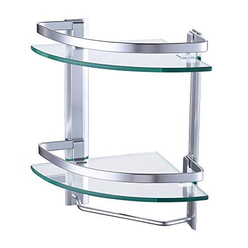 KES Aluminio Estanteria Cristal Esquina Extra Grueso Double Templado de...