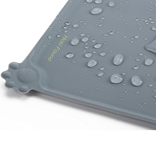 Hoki Found Silicone Pet Food Mats Tray - Non Slip Pet Dog Cat Bowl Mats Placemat - FDA Approved Grade Dog Pet Cat Feeding Mat - Waterproof Dog Cat Food Mats -Pet Water Mats for Carpet, Gray