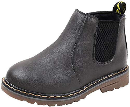 PPXID Boys Girls British Waterproof Plush Inside Snow Boots Casual Ankle Boots-Gray 2 US Size