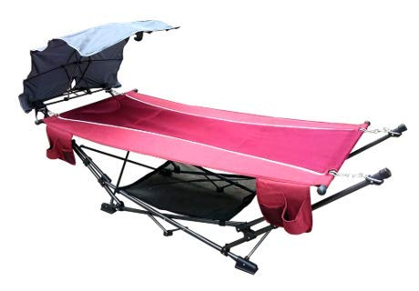 ZENITHEN LIMITED Pink Folding Hammock with a Retractable Canopy