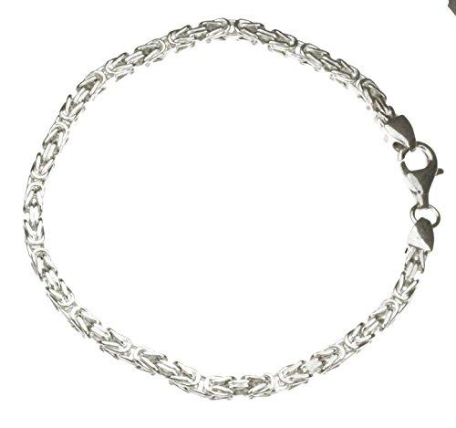 Königsarmband 925 Silber 3 mm 19 cm Silber-Armband Damen Herren-Armband Herren-Schmuck ab Fabrik tendenze Italy D-BZ3-19v