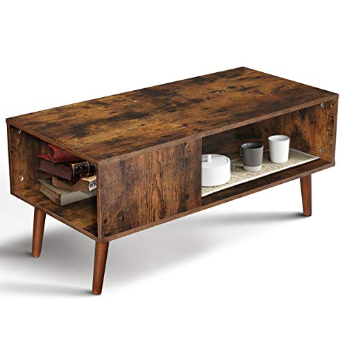 KINGSO Retro Coffee Table Mid Century Modern Coffee Table with Storage Shelf for Living Room Vintage Coffee Table TV Table Sofa Table Easy Assembly Wood Look Furniture, Rustic Brown
