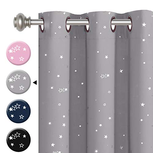 """H.VERSAILTEX Blackout Curtains Kids Room for Boys Girls Thermal Insulated Twinkle Silver Stars Pattern Curtain Drapes, Grommet Top, 1 Panel, 52"""" W x 84"""" L, Grey"""