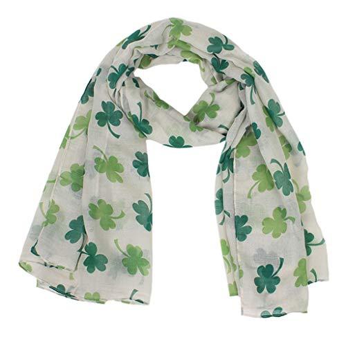 Da se San Patricio Bufanda Verde Irlandesa de Las Mujeres Bufandas Del Abrigo Del Mantn Del Trbol de Cuatro Hojas