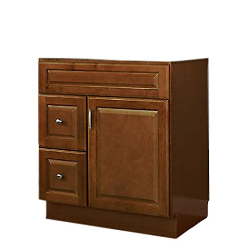 "JSI Quincy 30"" One Door Brown Finish Vanity w/Two Right Drawers -Cabinet Only"