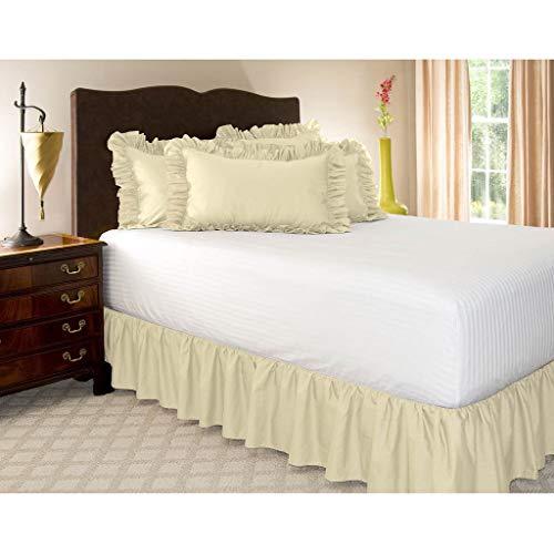 HUANXA Faldas elásticas alrededor de la cama, volantes, ajuste fácil, resistente a las arrugas y a la decoloración, tela sedosa, color sólido, 15 pulgadas, color arroz, 180 x 200 cm