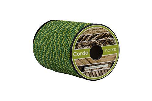 Cordamarket Cuerda driza, Adultos Unisex, Amarillo/Verde, 8mm a 25mts