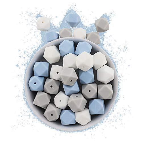 RUBY - 30 17mm Cuentas de silicona, piezas de silicona alimentaria para montar chupeteros/collares/mordedor lactancia colores combinados (Reino de las Nubes, Cuboctaedro)