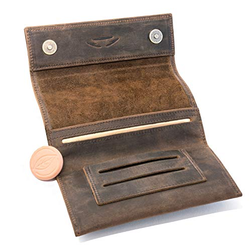 Bolsa para Tabaco de Liar Cuero COMARI | Compartimento para Papel de Doble Fila y filtros | Cerradura magnética | Piedra humidificadora de Tabaco Greengo Gratis (Marrón Vintage)