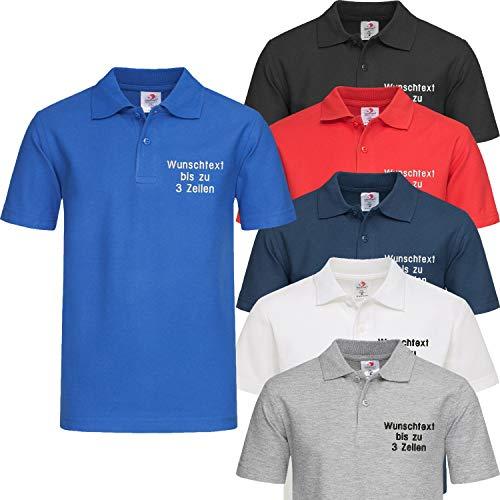 Stedman Kids Polo-Shirt Kinder Polohemd Bestickt mit Name   Wunschtext (S (122/128), Scarlet Red)