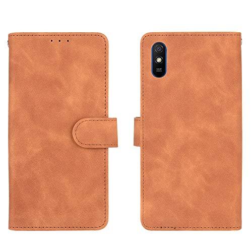 GOGME Leder Hülle für Xiaomi Redmi 9AT / Redmi 9A Hülle, Premium PU/TPU Leder Folio Hülle Schutzhülle Handyhülle, Flip Hülle Klapphülle Lederhülle mit Standfunktion und Kartensteckplätzen, Brown