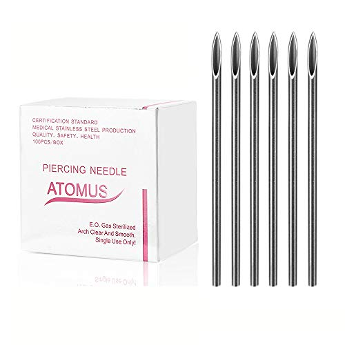 ATOMUS 100 agujas de piercing esterilizadas, 12 G, 14 G, 16 G, 18 G, 20 G, ombligo de oreja, agujas desechables de acero inoxidable médico