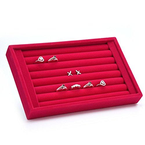 Yosoo - Espositore per gioielli in velluto per interni in pelle scamosciata, per orecchini, anelli, per gemelli, organizer per vassoio, con fessure, idea regalo (rosso rosa)