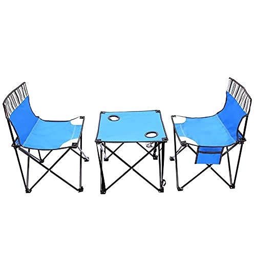 QYYYUNDING Mesa de Camping Mesa de Picnic Ligero al Aire Libre Campamento portátil Mesa Plegable sillas de Red con Bolsa de Transporte 2 sillas + Mesa Tablas portátiles (Color : Blue)