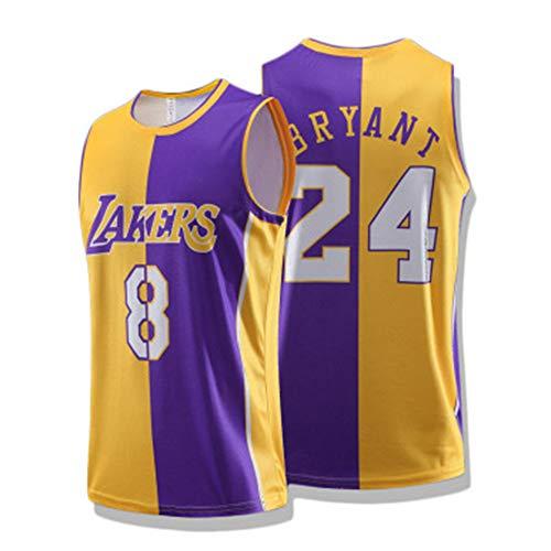 lfly Kōbé Bryáňt Jersey Lakers #8#24 - Camiseta de baloncesto para hombre, chaleco retro de jersey de uniforme de los 90S, disfraz de hip-hop, alfanumérico Mamba Spirit (S-XXL) amarillo+púrpura C-XL