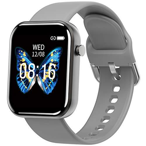 Smart Watch IP68 wasserdichte SmartWatch HD Touchscreen Fitness Tracker Unterstützung Blutdruck Herzfrequenz Schlafüberwachung Schrittzähler kompatibel mit Android und IOS(Grau)