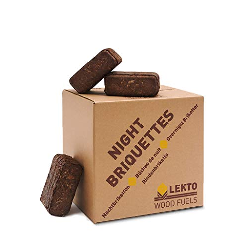 Lekto Woodfuels Night Briquettes - 20kg (20 Briquettes), Up to 8 Hour Slow Burn | Ideal for Wood Stoves, Log Burners, Sheltered Fire Pits & Chiminea | Eco Friendly Compressed Wood Fire Bricks