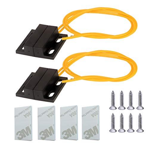 Gebildet 2 Set 100 V-240 V Empotrado Seguridad Ventana Puerta Sensor de Contacto Alarma Interruptor de lengüeta Magnético con Cable Amarillo, Interruptor Magnético Normalmente Cerrado