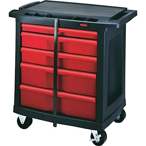"""Rubbermaid Commercial Trademaster 5 Drawer Mobile Work Center, 33"""" L x 20"""" W x 34"""" H, Black/Red (FG773488BLA)"""