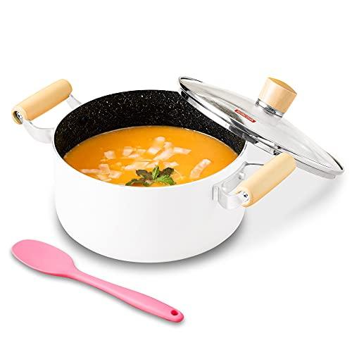 Stock Pot, ROCKURWOK Nonstick Soup Pot Pasta Cooking Pot with Lid, Cast Aluminum Casserole Dutch Oven with Double Wooden Handle, 3.3 Quart, White
