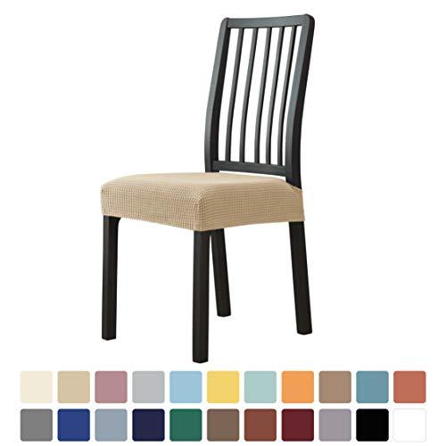 MILARAN Funda para asiento de silla de comedor, funda de cojín de jacquard elástica suave para comedor, cocina, lavable y extraíble, juego de 2, color beige