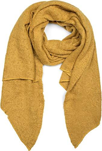 styleBREAKER Damen weicher unifarbener Web Schal in asymmetrischer Form, Winter, Stola 01017118, Farbe:Senf