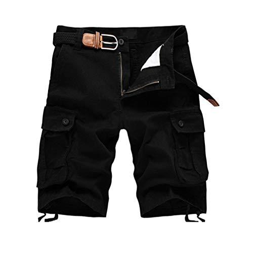 junkai Männer Casual Sommer Kampf Cargo Shorts Capri Hosen Schwarz 32